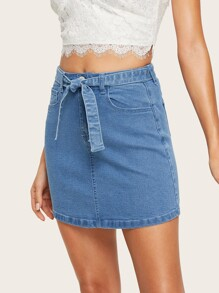 Denim Bodycon Skirt With Belt