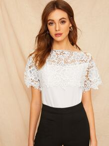 Contrast Guipure Lace Solid Blouse
