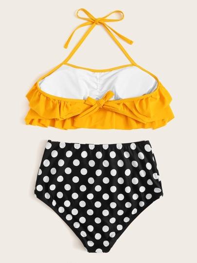 29aee601ac582 Home · Swimwear · Bikinis; Polka Dot Ruffle Halter Top With High Waist  Bikini