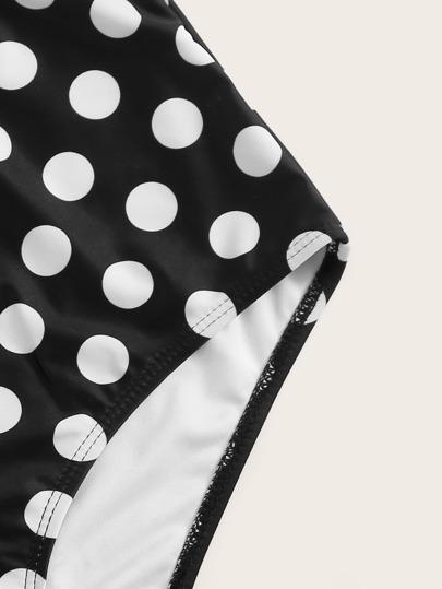 b91a81f5df330 Polka Dot Ruffle Halter Top With High Waist Bikini | ROMWE