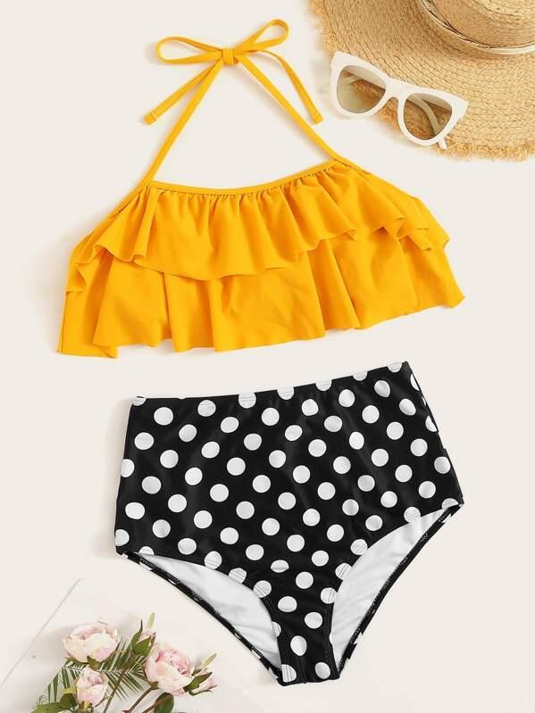 541b44e068d81 Polka Dot Ruffle Halter Top With High Waist Bikini | SHEIN