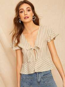 Knot Front Striped Blouse