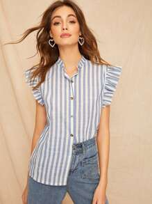 Ruffle  Sleeve Button Stripe Blouse