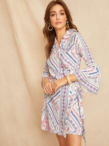 Lettuce Frill Tribal Print Wrap Self Tie Dress
