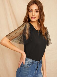 Contrast Dobby Mesh Solid Tee