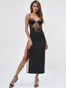 Lace Panel Split Side Cami Dress