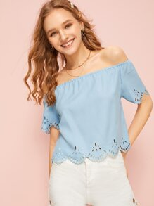 Laser Cut Off The Shoulder Striped Blouse