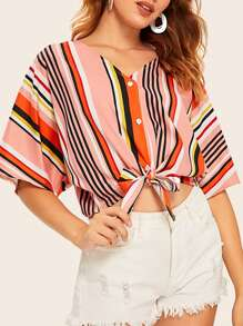 Striped Button Front Knot Hem Blouse