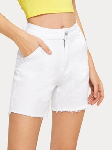 Button And Pocket Detail Solid Denim Shorts