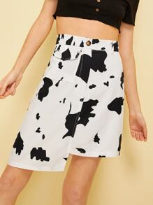 Graphic Print Button And Pocket Detail Skirt