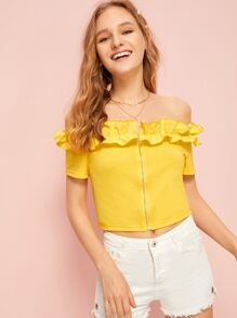 Ruffle Trim Zip Through Solid Tee