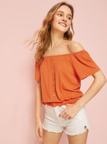 Ruffle Hem Off The Shoulder Tee
