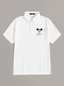 Men Letter & Cartoon Print Polo Shirt