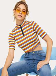 Half Zip Striped Stand Collar Crop Tee