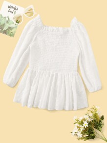 Shirred Panel Embroidered Eyelet Top