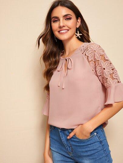 Women Ladies Lace Floral Crochet Slim Plain Top Long Sleeve Ruffle Casual Blouse Long Top Shirt Blouses & Shirts