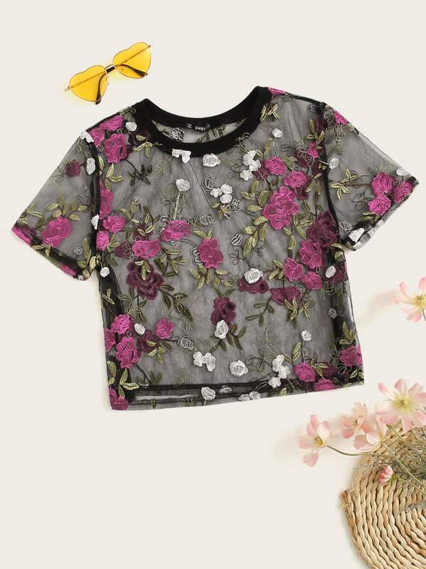 5c6c01c08 Cheap Floral Embroidery Sheer Mesh Top for sale Australia | SHEIN