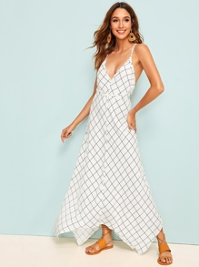 Criss-cross Backless Grid Print Maxi Slip Dress