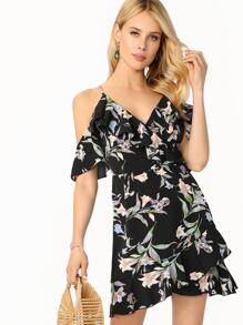 Surplice Neck Cold Shoulder Ruffle Floral Dress