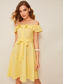 Off Shoulder Ruffle Trim Belted Dress