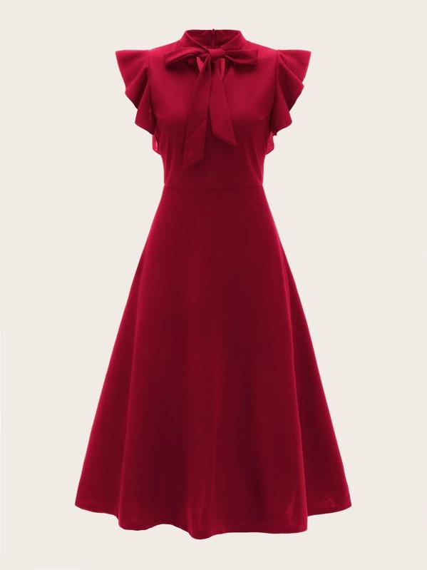 bfa9a935 Pussy Bow Ruffle Fit & Flare Dress   SHEIN UK