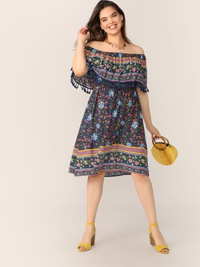 3df42361a Plus Off Shoulder Tassel Ruffle Detail Floral Dress