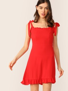 Ruffle Hem Tie Strap Sun Dress