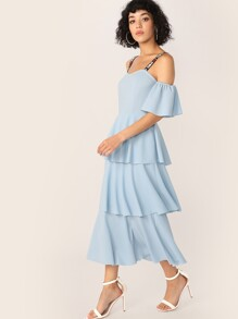 Letter Strap Layered Ruffle Hem Dress