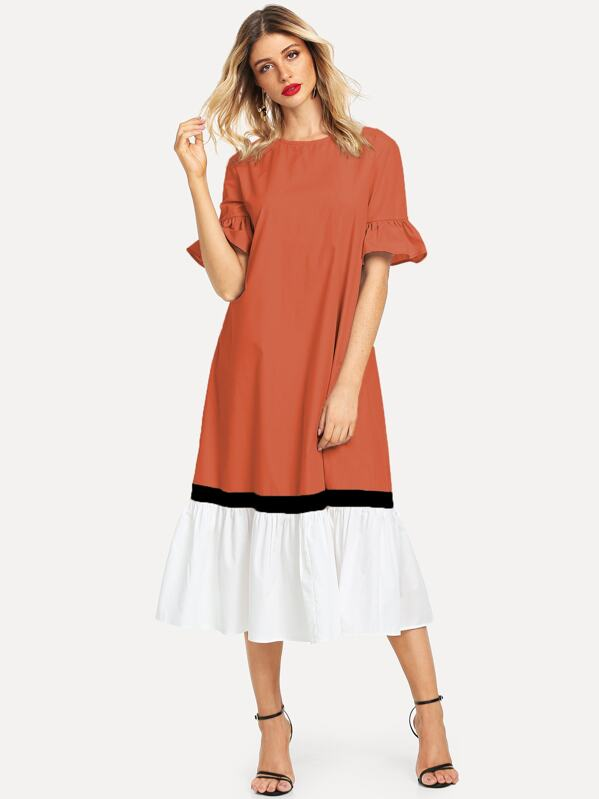 a807762e548 Color-block Flippy Hem Tunic Dress