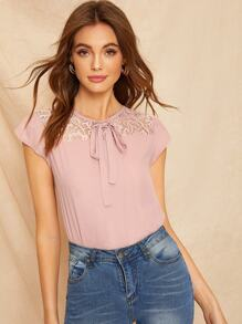 Contrast Lace Buttoned Keyhole Back Blouse