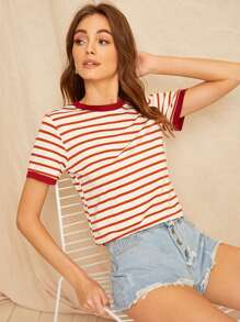 Piping Trim Striped Tee