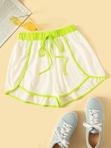 Neon Contrast Binding Dolphin Shorts