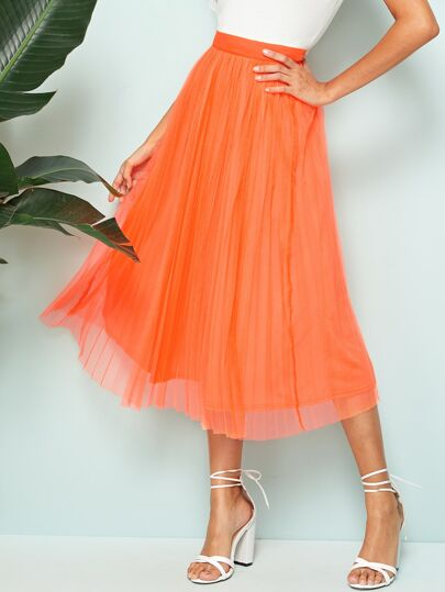 a76ff6704 Neon Orange Wide Waistband Pleated Skirt