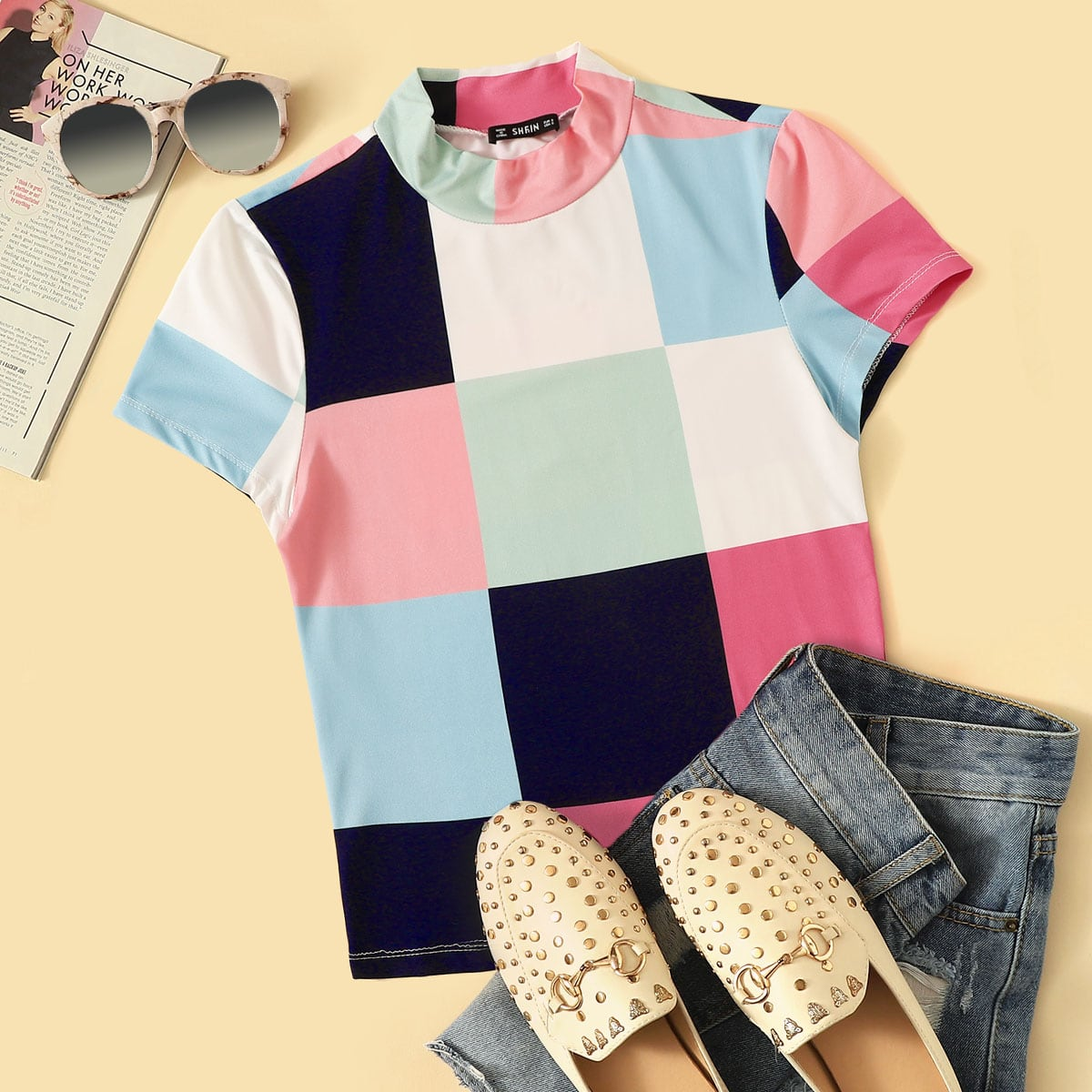 SHEIN coupon: Mock-neck Patchwork Tee