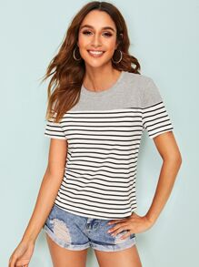 Striped Color-block Tee