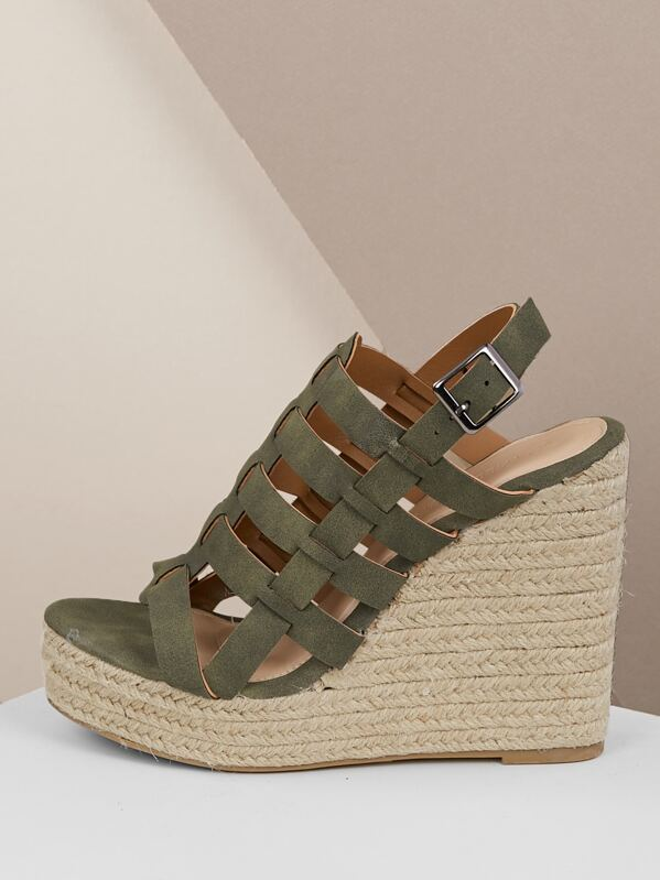 0ed3a724a30 Strappy Caged Slingback Espadrille Platform Wedges