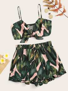 Jungle Knotted Shirred Cami & Flounce Hem Shorts Set