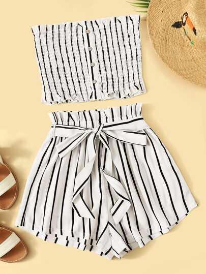 b1405494b18 Striped Shirred Bandeau   Paperbag Waist Shorts Set