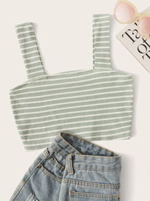 Rib-knit Striped Crop Top