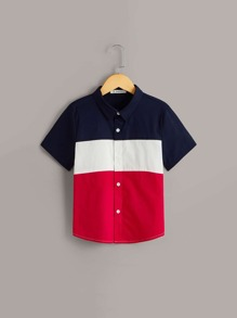 Boys Cut-and-sew Button Up Shirt