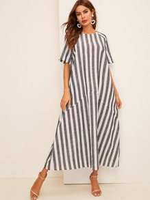 Striped Trapeze Hijab Dress