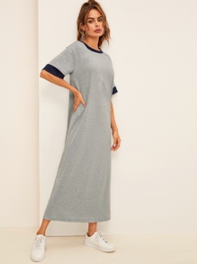 Contrast Neck and Cuff Heather Grey Dress