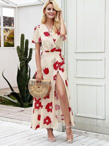 Simplee Surplice Floral Print Tie Side Wrap Dress
