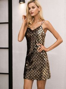 Simplee Crisscross Back Sequin Cami Dress