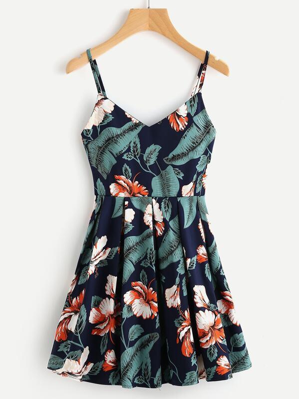 c1ce6a0fdd9f42 Leaf Floral Print Random Box Pleat Cami Dress