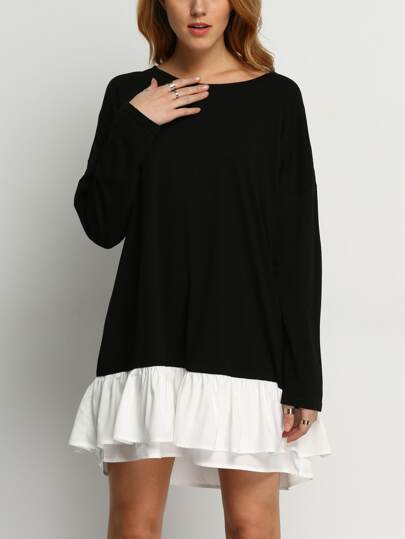 Contrast Ruffle Hem Dress