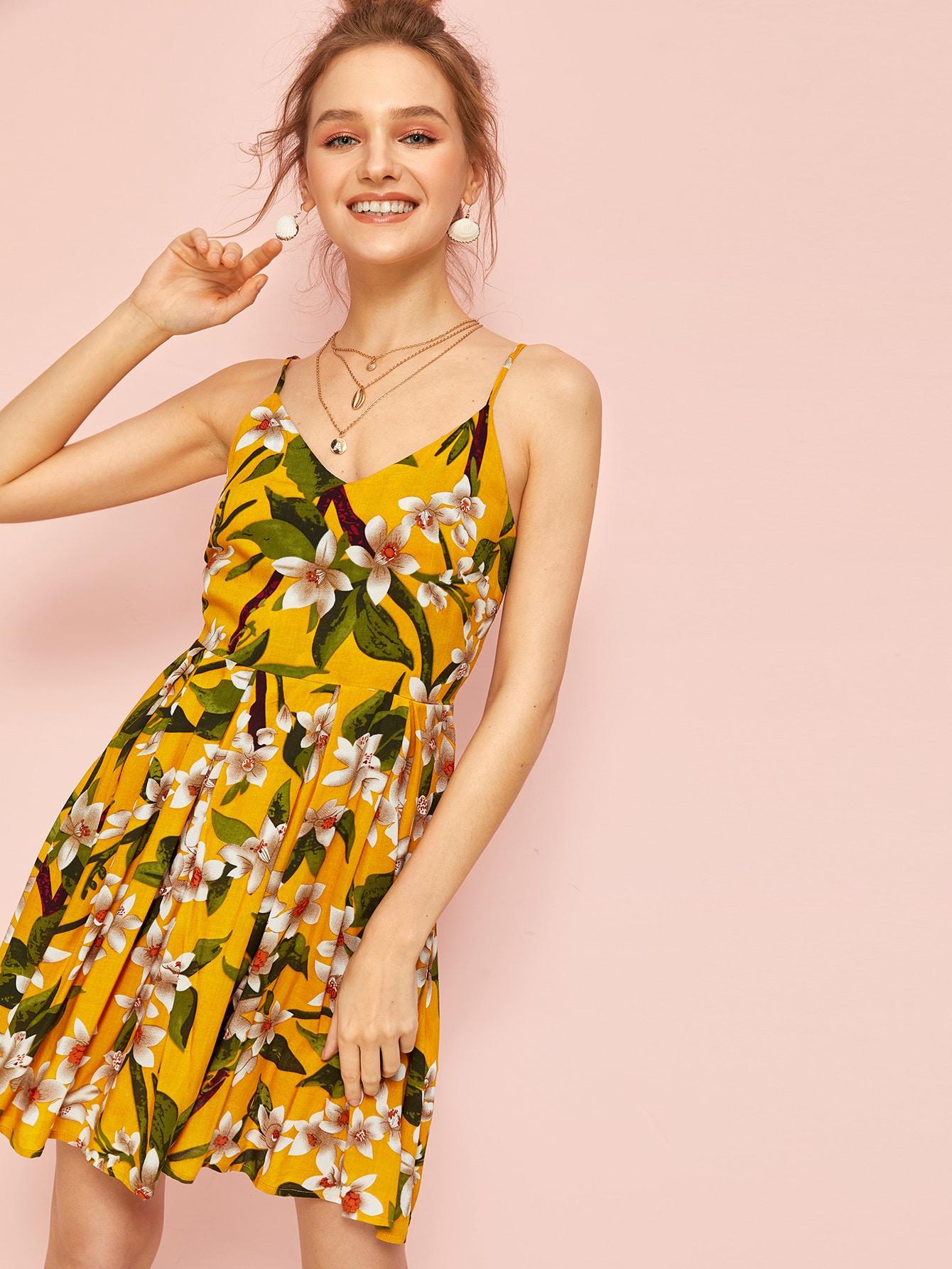 Botanical Print Zip Back Pleated Cami Dress by Romwe