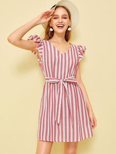 9178a5ba08d Layered Ruffle Trim Self Belted Striped Dress