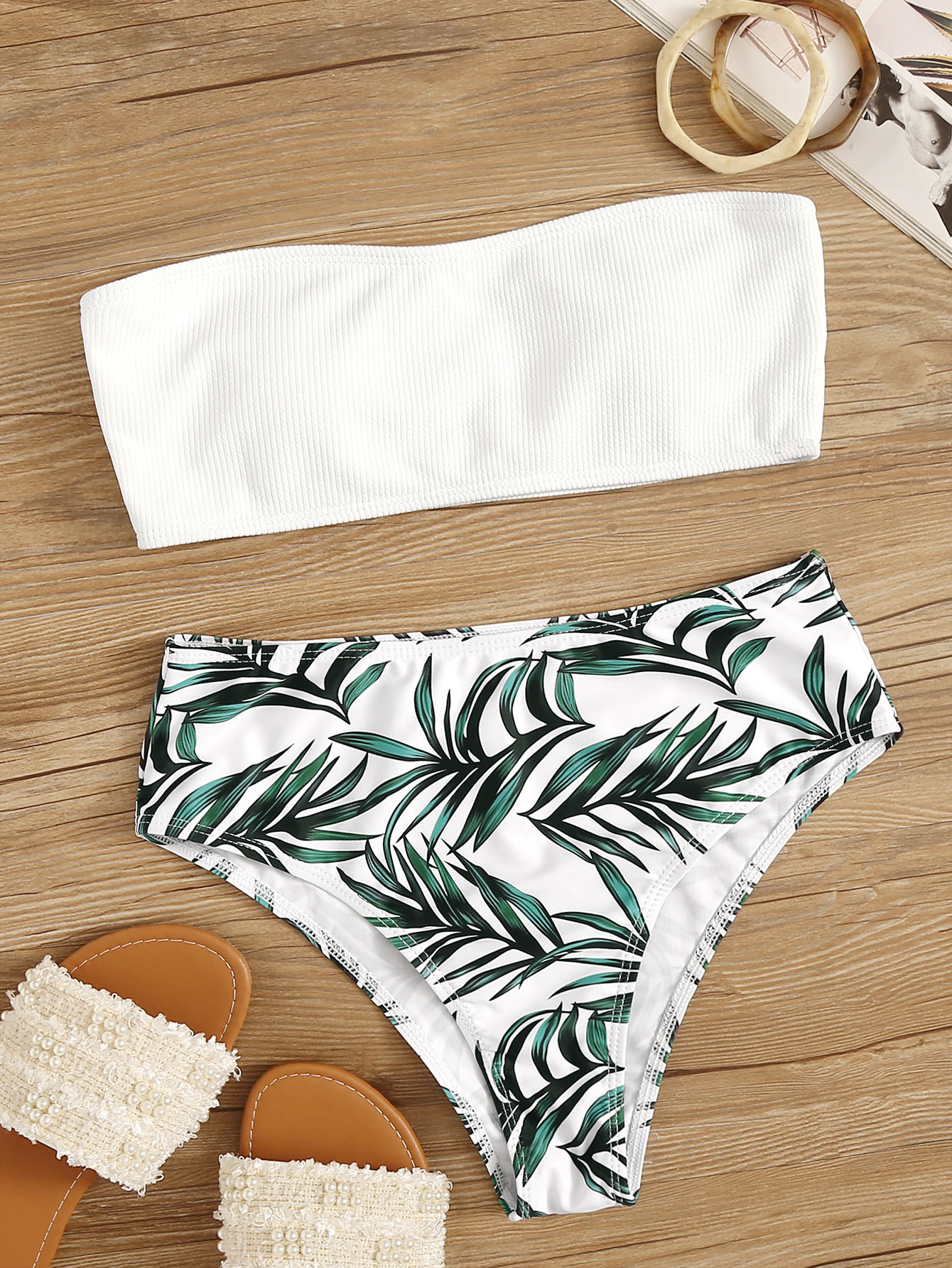Special 129576 Ztr242 Hh396 Leaf Print Wired Bikini Shorts Set Triumph Made