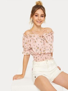 Off-shoulder Ditsy Floral Shirred Blouse